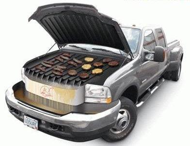 Grill selbst gebaut - Einkaufswagen, Mülltonne ...